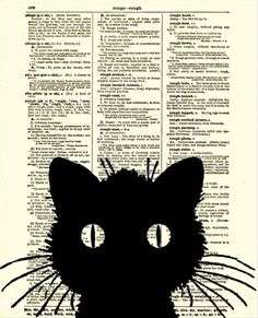 Dictionary Art Print, Cat Silhouette, Antique Dictionary Page, Halloween Decor, Cat Art via Etsy