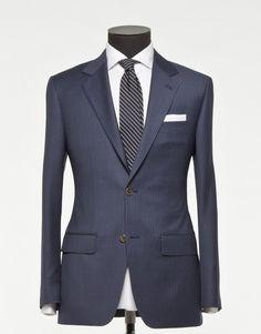 Tailored 2-Piece Suit - Fabric 3895 Stripe Blue