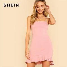 82a1132f9252 SHEIN Sexy Pink Pastel Party Preppy Ruffle Asymmetrical Backless Flounce  Hem Open Back Summer Dress Women Cami Mini Dress