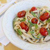 zucchini ribbon pasta with light creamy lemon-basil sauce
