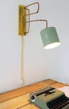 Wall lamp / applique copper , wood , and tin jar recycled . Industrial , vintage table lamp . Green and yellow . OOAK