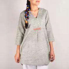 Pastel green v-neck khadi tunic