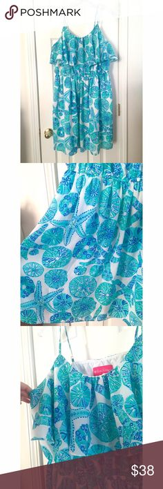 💕 💰MEGA SALE💰 Lilly Pulitzer Dress Adorable Lilly Pulitzer summer dress with a beach themed print. Only worn once for photos! Nice and flowy - Perfect for vacation!🔺NO Trades, NO PayPal🔺Bundle & Save!! Lilly Pulitzer for Target Dresses Midi