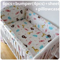 Promotion! 6/7PCS Cot Bedding Set Safety And Healthy Kids Accessory,Baby Bedding Sets ,120*60/120*70cm