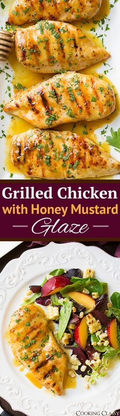 Grilled Chicken with Honey Mustard Glaze - one of the easiest chicken recipes EVER yet SO delicious! Everyone loved it! Already made it twice!