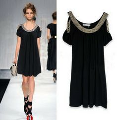 2014 New Women Black  Off  the  shoulder  Casual Dress Bow Cute Fashion Ladies Spring Summer novelty Dresses Tunics High Street