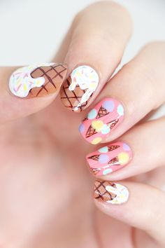Hey girl, do you want some ice cream? Crazy Nail Art, Pretty Nail Art, Cute Nail Art, Cute Nails, Funky Nails, Trendy Nails, Nails Now, Gel Nails, Nail Art Designs