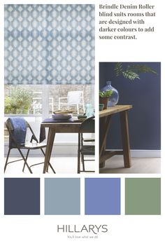 Inject a splash of colour and pattern into your home with Brindle Denim roller blind, featuring a tonal blue geometric design. It a stylish octagon design in varying shades of blue, and is wipe-clean, making it ideal for kitchens, dining rooms and bathrooms. See our range of blue blinds to feature in your kitchen. Blue Roller Blinds, Blue Roman Blinds, Blue Vertical Blinds, Stairs In Living Room, Striped Room, Blue Interiors, House Blinds, Blue Fabric, Interior Design Kitchen