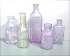 Bottle Art Shabby Cottage Chic Art Lavender by StudioSwede13