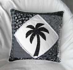 """Patchwork palm tree boho pillow cover, in black and white batiks and wovens on white distressed denim 18"""""""