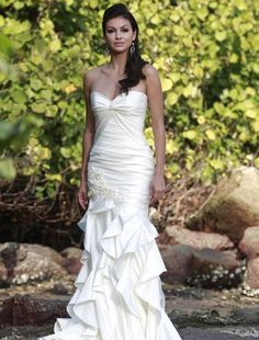 Sweetheart Mermaid Wedding Dress  with No Waist/Princess Seams in Satin. Bridal Gown Style Number:32197865