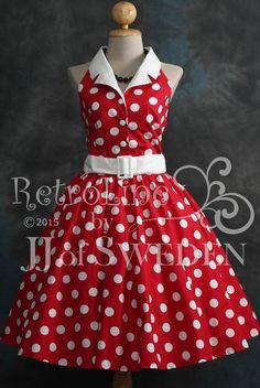Polka dot rockabilly dress. Handmade designer dress. by JJofSweden
