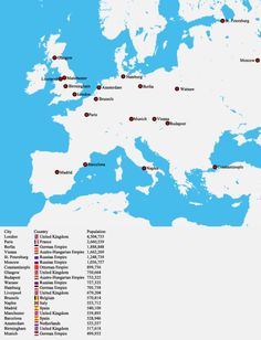 Europe's biggest cities in 1900Related: Largest European cities in 1600 AD.