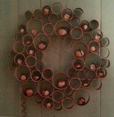 cardboard tubes into a honeycomb wreath
