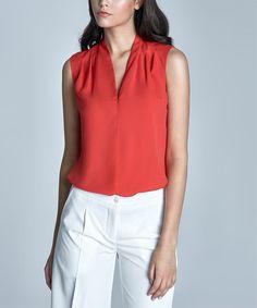 Orange Pleat-Front Sleeveless Top #zulily #zulilyfinds