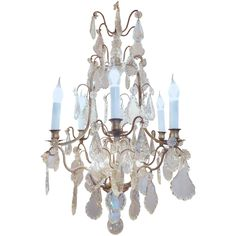 Early 20th Century Louis XV Style Old Silver Plate and Crystal Chandelier