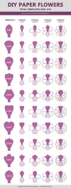 Paper Flower Templates SET of 10 A01-A10 diy Giant Large
