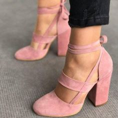 How about this shoe? Share to get a coupon for all on FSJ Pink Block Heel Sandals Suede Closed Toe Strappy Heels