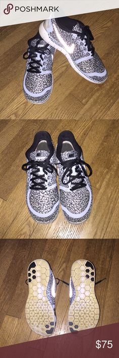 Nike Free 5.0 Snow Leopard (crackle) Print Woman's Nike Free 5.0. Size 8.5 and the most comfortable frees made, they feel like slippers. Super light weight with flex sole, great for running, lifting, or casual wear. Rare ice blue snow leopard print, with black trim, white sole, and reflective swoosh. Very minimal wear, soles shown, slight discoloration on bottom of sole from wearing outdoors. Some scuffs on front of toes shown in pictures. No other stains or defects. Insole changed out for…
