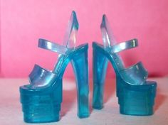 The Many Joys Of Jelly Shoes~Jellies are totally the shit. Such delightful footwear. These heels look like the same color/material of my turquoise strappy platform pair. Stilettos, Heels, Cute Shoes, Me Too Shoes, Barbie Shoes, Barbie Stuff, Barbie Dolls, Stripper Shoes, Plastic Shoes