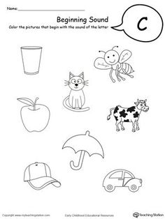 Letter C Activities, Jolly Phonics Activities, Nursery Worksheets, Printable Alphabet Worksheets, Phonics Worksheets, Kindergarten Worksheets, Handwriting Activities, Beginning Sounds Worksheets, Learning Letters