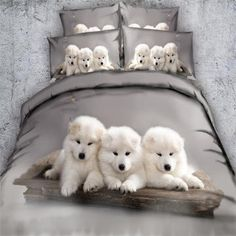 Royal Linen Source Brand 3 Parts Per Set White Samoyed Puppies cuddling animal bedding set Coverlet Set Twin Size Duvet Covers, Bed Duvet Covers, Duvet Cover Sets, Leopard Print Bedding, Animal Print Bedding, White Husky Puppy, White Puppies, White Dogs, Puppy Cuddles