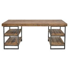 Pairing industrial iron with rustic pine wood, this handsome desk is the perfect place to pen thank you notes and balance your checkbook. 4 open shelves are ...