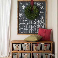 It's the most wonderful time of the year! A carol-theme chalkboard lets you display your favorite holiday lyrics with pride. You can find chalkboard paint at your home improvement store, paint a board of your choosing, and dress it up with a rustic frame./