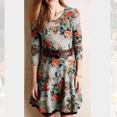 "Saturday Sunday floral dress Long sleeve dress from Anthropologie with beautiful floral pattern. Cute tassel detail on back zipper. By far my favorite dress and I've been hesitant to sell it because I love it so much but it just doesn't fit me anymore! :( I promise you will definitely not regret this purchase! Perfect for fall/winter with boots! Size is Medium Petite but length from shoulder seam measures 34"". Belt did not come with dress and is not included with purchase. Anthropologie…"