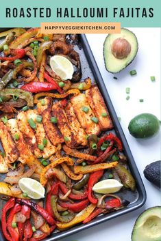 Roasted halloumi and veggie fajitas! Thanks to it's robust, grill-able texture, halloumi cheese is so much fun to cook with and makes the best vegetarian fajita filling! In this recipe, halloumi is seasoned and roasted in the oven with veggies. Vegetarian Recipes Dinner, Meat Recipes, Mexican Food Recipes, Cooking Recipes, Healthy Recipes, Healthy Dishes, Healthy Cooking, Lunch Recipes, Healthy Meals