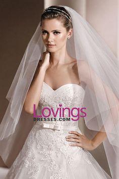 2016 New Arrival Wedding Dresses A-Line Sweetheart Chapel Train Tulle With Applique & Belt Zipper Back