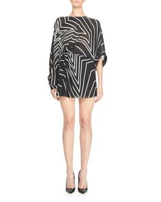 Gathered+Star-Print+Mini+Dress,+Black/White+by+Saint+Laurent+at+Neiman+Marcus.