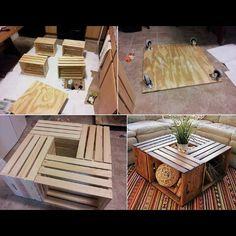 Inspiration pour le makerspace de Lille #meuble Table basse cagettes à pommes