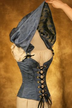 """Blue Hooded Cloak Corset - CUSTOM FIT"" by Damsel in this Dress (damselinthisdress on Etsy). Sold"