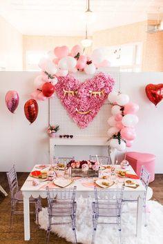 Little Galentine's girl's Valentine's party Valentines Day History, Valentines Day Photos, Valentines Gifts For Boyfriend, Valentine Theme, Valentines Day Decorations, Valentines Day Party, Walmart Valentines, Valentine Backdrop, Girl Birthday Themes