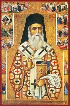 Orthodox icon of Saint Nektarius, Nektarios of Aegina, Bishop of Pentapolis . Byzantine Icons, Byzantine Art, Church Icon, Icon 5, Spirituality Books, Orthodox Icons, Religious Art, Cairo, Christianity