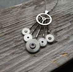 necklace coppertronic gears jewelry pendant steampunk upcycled art ♥
