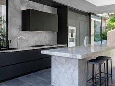 Stone Benchtop Kitchen, Concrete Kitchen, Old Kitchen, Kitchen Items, Concrete Bricks, Stone Slab, Minimalist Interior, Cool Kitchens, Kitchen Design
