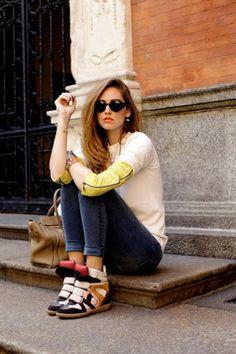 Isabel Marant Wila Concealed Wedge Suede Sneakers Antracite #IsabelMarant #Wdeges #Sneakers