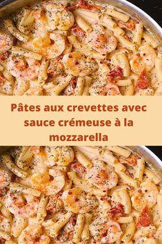 Creamy Mozzarella Shrimp Pasta - World Food Four Cheese Pasta, Cheese Sauce For Pasta, Creamy Shrimp Pasta, Shrimp Pasta Recipes, Pesto Shrimp, How To Cook Shrimp, How To Cook Pasta, Quinoa Pasta, Salmon Dinner
