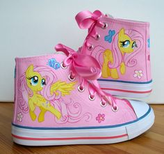 Hand painted Children My Little Pony shoes by BeressyArt on Etsy, £38.00