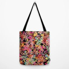 watercolor meadow black Tote Bag by Bachullus | Society6
