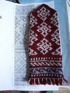 Mittens with fringed border.