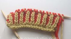 DROPS Knitting Tutorial: How to knit english rib in two colours.