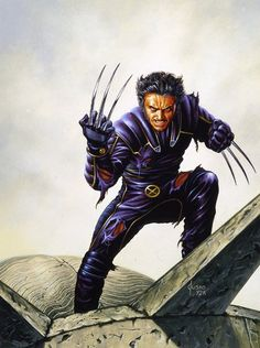 Two mutants, Rogue and Wolverine, come to a private academy for their kind whose resident superhero team, the X-Men, must oppose a terrorist organization with similar powers. Marvel Wolverine, Wolverine Movie, Hq Marvel, Logan Wolverine, Marvel Comics Art, Fun Comics, Wolverine Costume, Comic Book Artists, Comic Artist