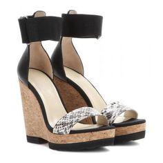 Jimmy Choo - Neston snakeskin and leather wedges #shoes #jimmychoo #women #designer #covetme