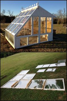 Did you know that you can turn old windows into a beautiful greenhouse? Learn how to here! Did you know that you can turn old windows into a beautiful greenhouse? Learn how to here! Diy Greenhouse Plans, Backyard Greenhouse, Greenhouse Growing, Greenhouse Wedding, Homemade Greenhouse, Cheap Greenhouse, Old Window Greenhouse, Greenhouse Film, Pallet Greenhouse