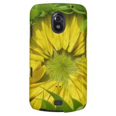 Sunflower Awakes Galaxy Nexus Cover - Photography of a beautiful Mammoth sunflower, close up of the center of the vivid yellow flower, just before the petals open and reveal the center. #sunflowernexus #zazzlesunflowergifts #zazzlebarelythere #sunflowergifts #margaretnewcombart #serenitygardens #sunflowers