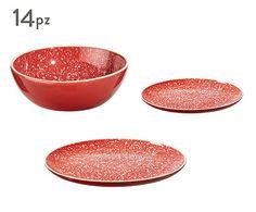 Servizio tavola in gres Granite - rosso