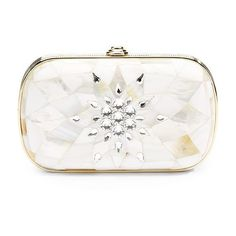 Judith Leiber Mother-of-Pearl Crystal Starburst Clutch ($1,535) ❤ liked on Polyvore featuring bags, handbags, clutches, accessories, bolsas, white multi, clasp purse, white purse, chain strap handbags and man bag